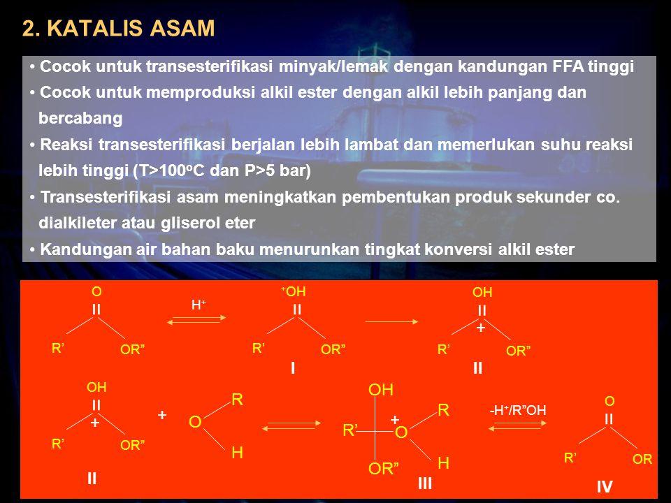 2. KATALIS ASAM Cocok untuk transesterifikasi minyak/lemak dengan kandungan FFA tinggi Cocok untuk memproduksi alkil ester dengan alkil lebih panjang
