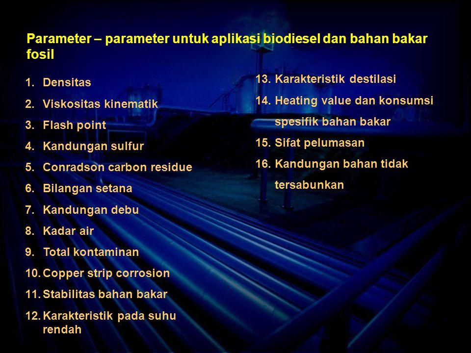 Parameter – parameter untuk aplikasi biodiesel dan bahan bakar fosil 1.Densitas 2.Viskositas kinematik 3.Flash point 4.Kandungan sulfur 5.Conradson carbon residue 6.Bilangan setana 7.Kandungan debu 8.Kadar air 9.Total kontaminan 10.Copper strip corrosion 11.Stabilitas bahan bakar 12.Karakteristik pada suhu rendah 13.