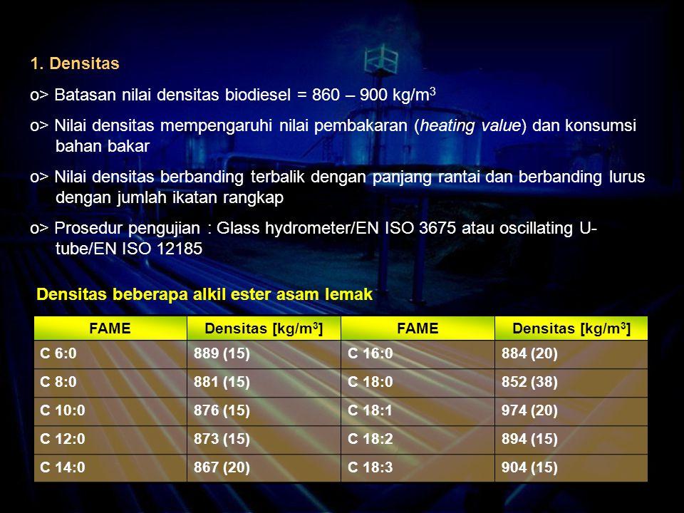 1. Densitas o> Batasan nilai densitas biodiesel = 860 – 900 kg/m 3 o> Nilai densitas mempengaruhi nilai pembakaran (heating value) dan konsumsi bahan