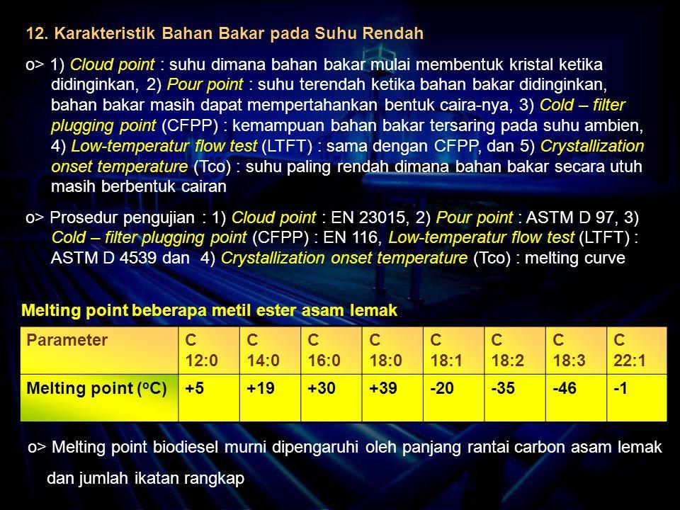 12. Karakteristik Bahan Bakar pada Suhu Rendah o> 1) Cloud point : suhu dimana bahan bakar mulai membentuk kristal ketika didinginkan, 2) Pour point :