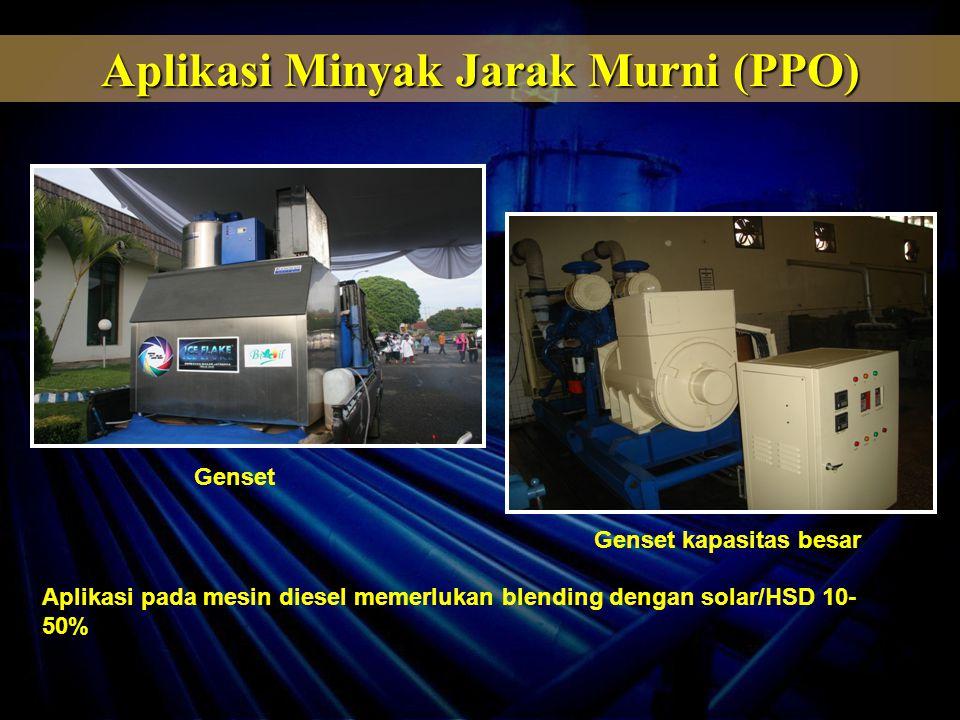 Genset Genset kapasitas besar Aplikasi pada mesin diesel memerlukan blending dengan solar/HSD 10- 50% Aplikasi Minyak Jarak Murni (PPO)