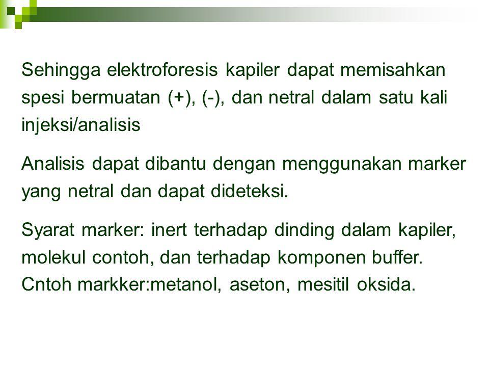 Sehingga elektroforesis kapiler dapat memisahkan spesi bermuatan (+), (-), dan netral dalam satu kali injeksi/analisis Analisis dapat dibantu dengan m