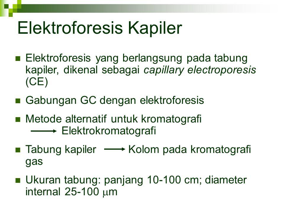 Elektroforesis Kapiler Elektroforesis yang berlangsung pada tabung kapiler, dikenal sebagai capillary electroporesis (CE) Gabungan GC dengan elektrofo