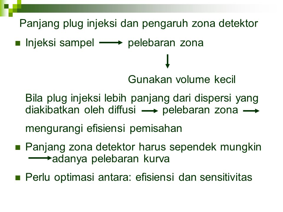 Panjang plug injeksi dan pengaruh zona detektor Injeksi sampel pelebaran zona Gunakan volume kecil Bila plug injeksi lebih panjang dari dispersi yang