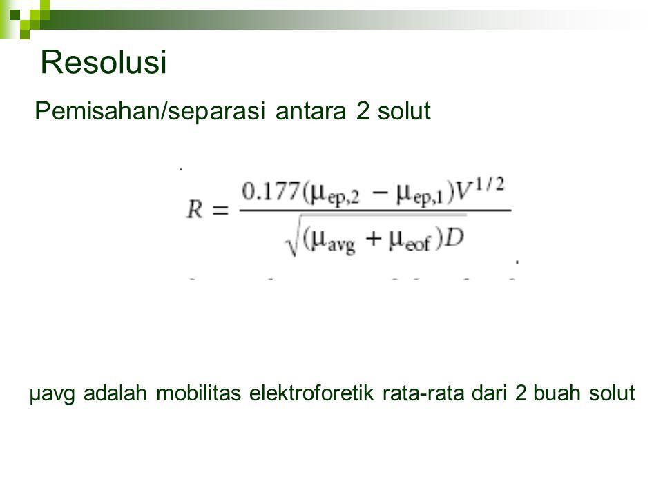 Resolusi Pemisahan/separasi antara 2 solut µavg adalah mobilitas elektroforetik rata-rata dari 2 buah solut