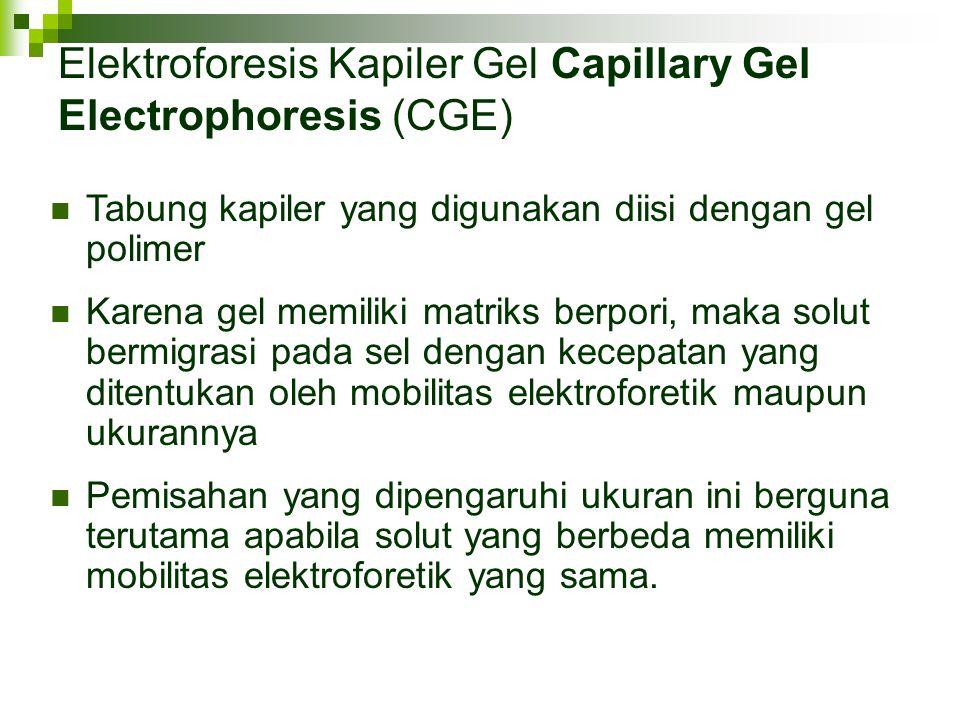 Elektroforesis Kapiler Gel Capillary Gel Electrophoresis (CGE) Tabung kapiler yang digunakan diisi dengan gel polimer Karena gel memiliki matriks berp