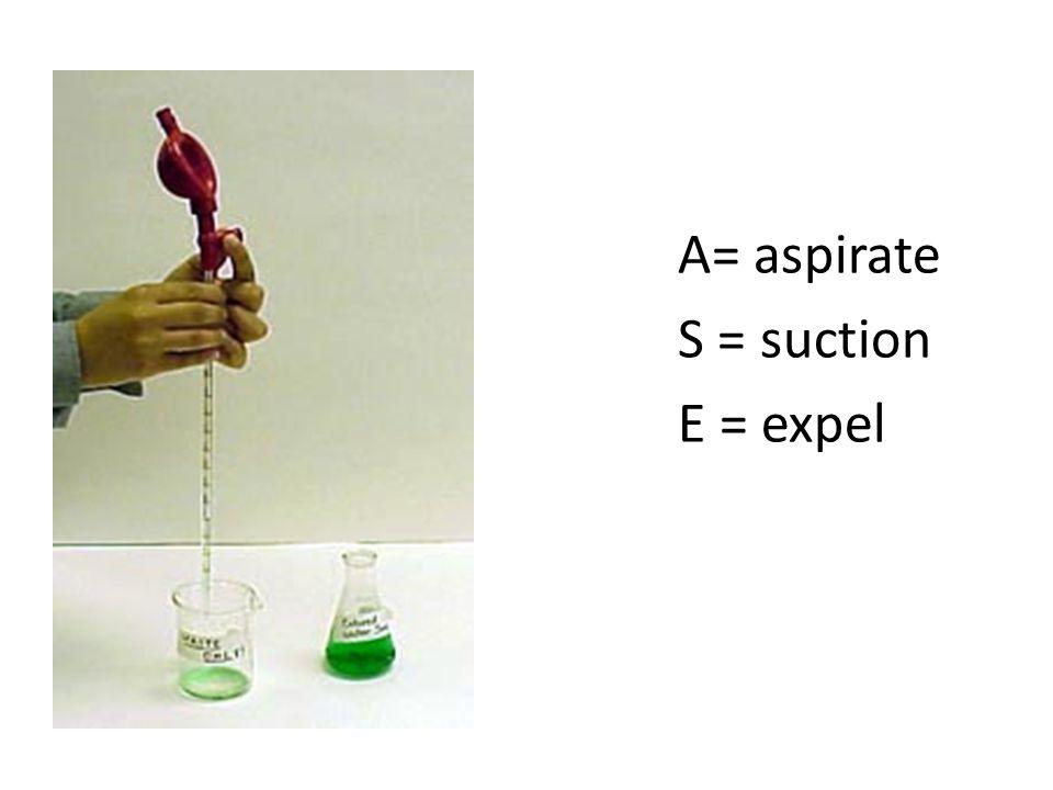 A= aspirate S = suction E = expel