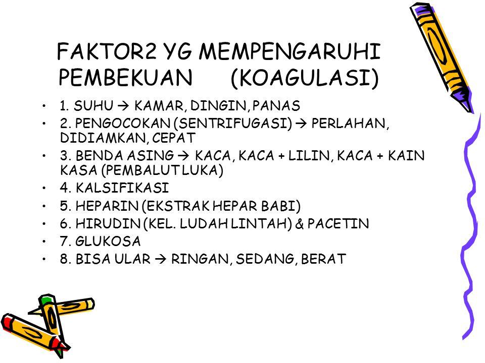 FAKTOR2 YG MEMPENGARUHI PEMBEKUAN (KOAGULASI) 1. SUHU  KAMAR, DINGIN, PANAS 2. PENGOCOKAN (SENTRIFUGASI)  PERLAHAN, DIDIAMKAN, CEPAT 3. BENDA ASING