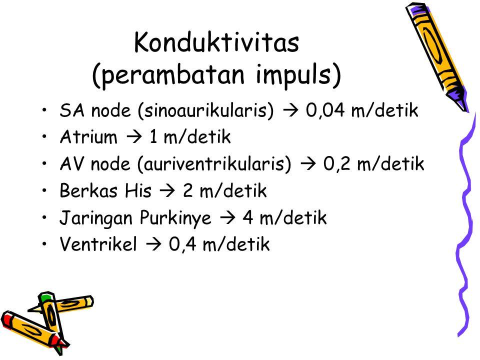 Konduktivitas (perambatan impuls) SA node (sinoaurikularis)  0,04 m/detik Atrium  1 m/detik AV node (auriventrikularis)  0,2 m/detik Berkas His  2