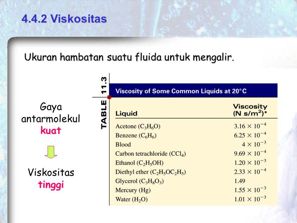 4.4.2 Viskositas Ukuran hambatan suatu fluida untuk mengalir.