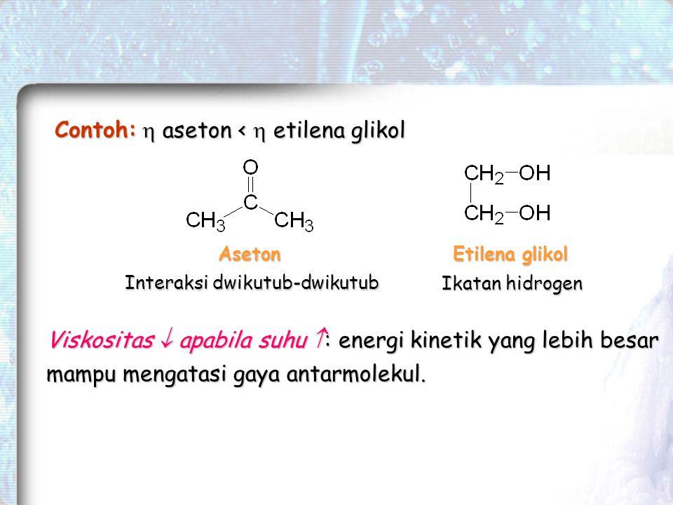 Viskositas  apabila suhu  : energi kinetik yang lebih besar mampu mengatasi gaya antarmolekul.