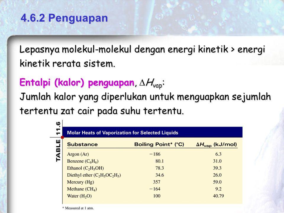 Entalpi (kalor) penguapan,  H vap : Jumlah kalor yang diperlukan untuk menguapkan sejumlah tertentu zat cair pada suhu tertentu.