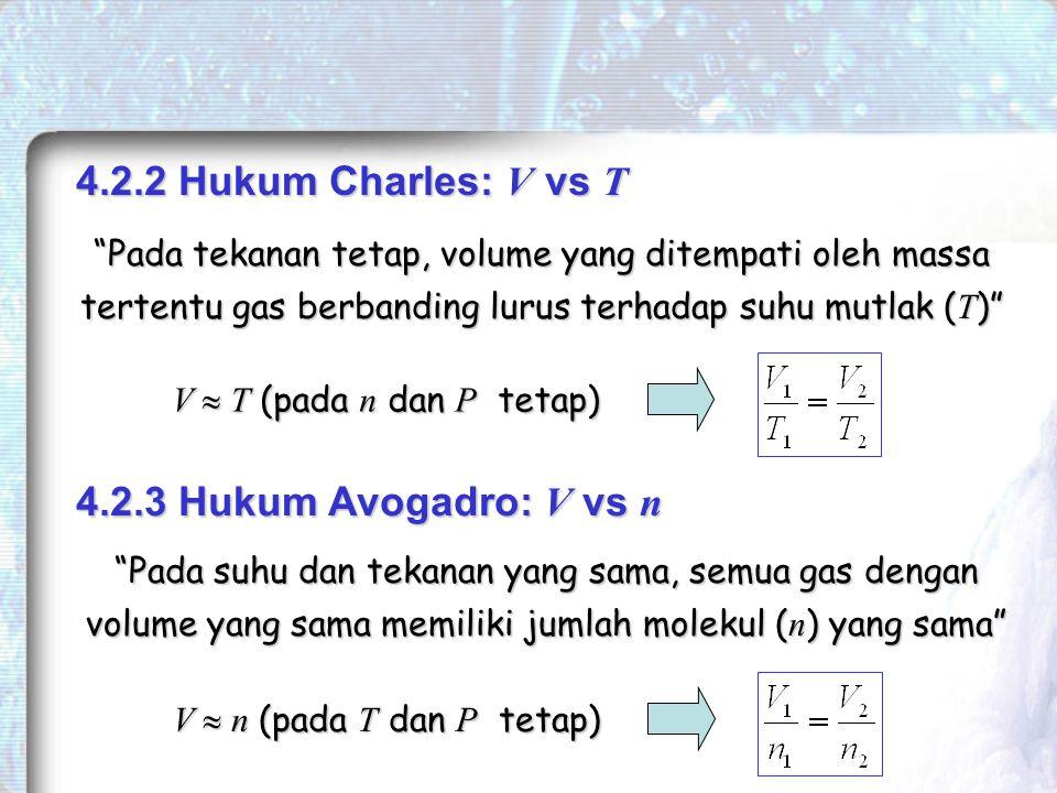 4.2.2 Hukum Charles: V vs T Pada tekanan tetap, volume yang ditempati oleh massa tertentu gas berbanding lurus terhadap suhu mutlak ( T ) V  T (pada n dan P tetap) 4.2.3 Hukum Avogadro: V vs n Pada suhu dan tekanan yang sama, semua gas dengan volume yang sama memiliki jumlah molekul ( n ) yang sama V  n (pada T dan P tetap)