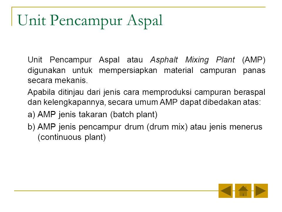 Unit Pencampur Aspal Unit Pencampur Aspal atau Asphalt Mixing Plant (AMP) digunakan untuk mempersiapkan material campuran panas secara mekanis.