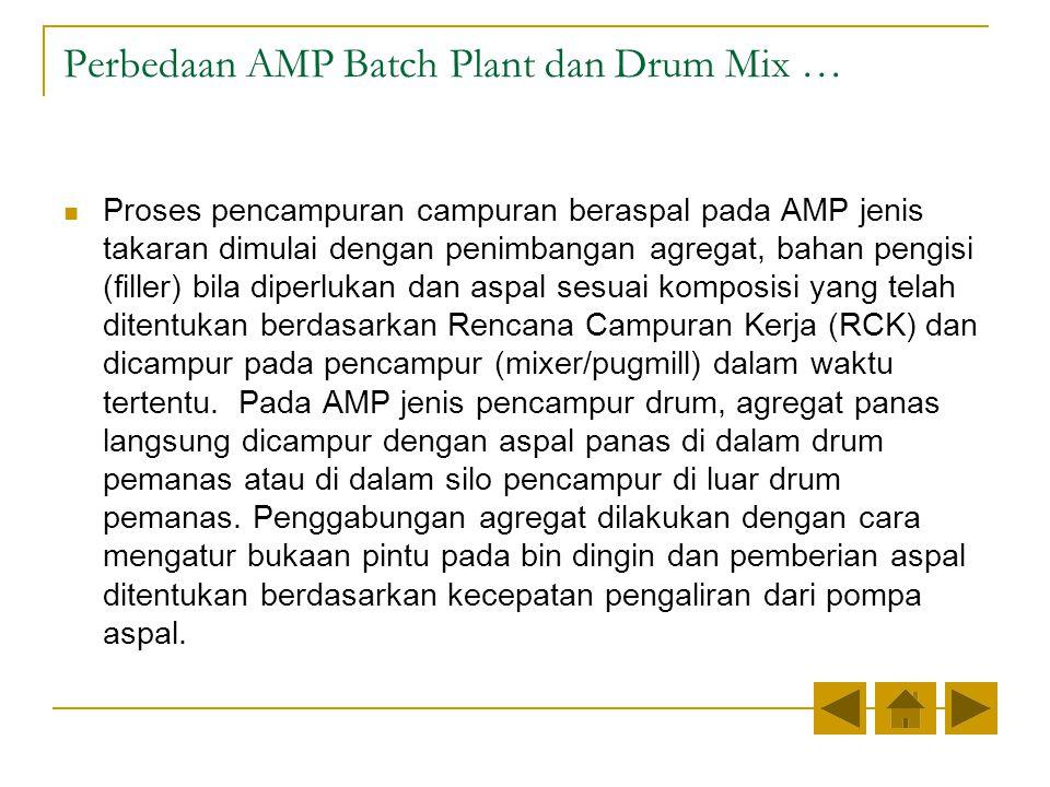Perbedaan AMP Batch Plant dan Drum Mix … Proses pencampuran campuran beraspal pada AMP jenis takaran dimulai dengan penimbangan agregat, bahan pengisi (filler) bila diperlukan dan aspal sesuai komposisi yang telah ditentukan berdasarkan Rencana Campuran Kerja (RCK) dan dicampur pada pencampur (mixer/pugmill) dalam waktu tertentu.