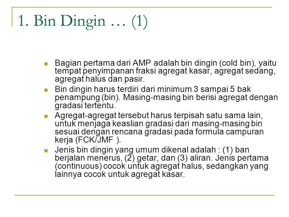 1. Bin Dingin … (1) Bagian pertama dari AMP adalah bin dingin (cold bin), yaitu tempat penyimpanan fraksi agregat kasar, agregat sedang, agregat halus