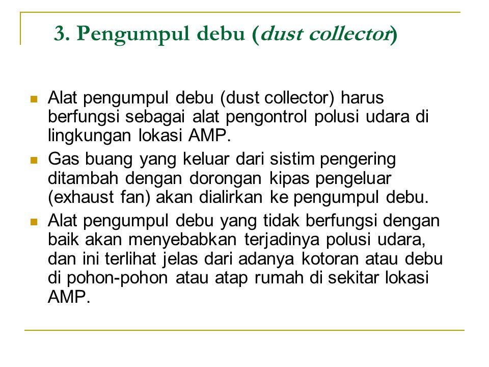 3. Pengumpul debu (dust collector) Alat pengumpul debu (dust collector) harus berfungsi sebagai alat pengontrol polusi udara di lingkungan lokasi AMP.