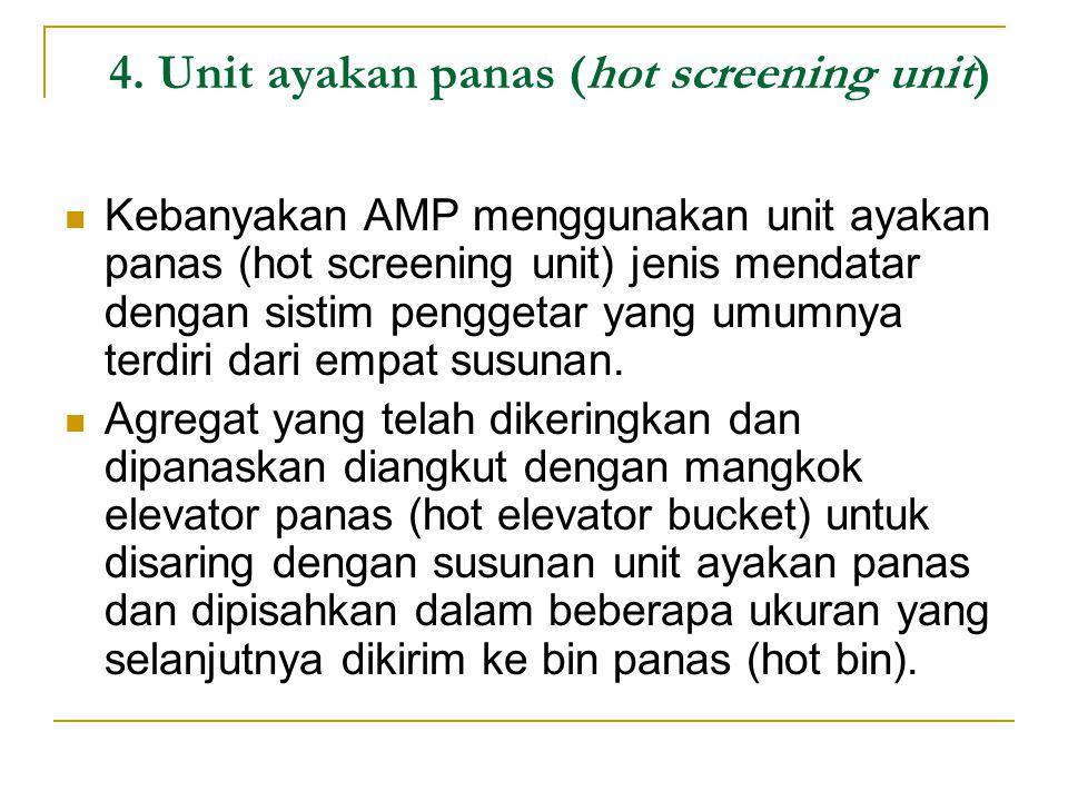 4. Unit ayakan panas (hot screening unit) Kebanyakan AMP menggunakan unit ayakan panas (hot screening unit) jenis mendatar dengan sistim penggetar yan