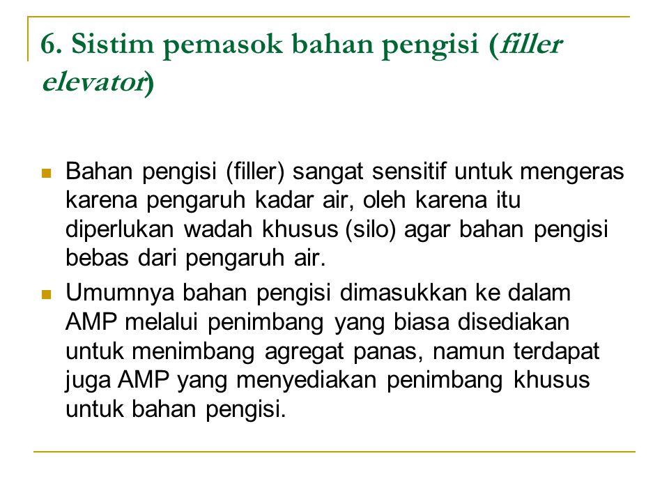 6. Sistim pemasok bahan pengisi (filler elevator) Bahan pengisi (filler) sangat sensitif untuk mengeras karena pengaruh kadar air, oleh karena itu dip