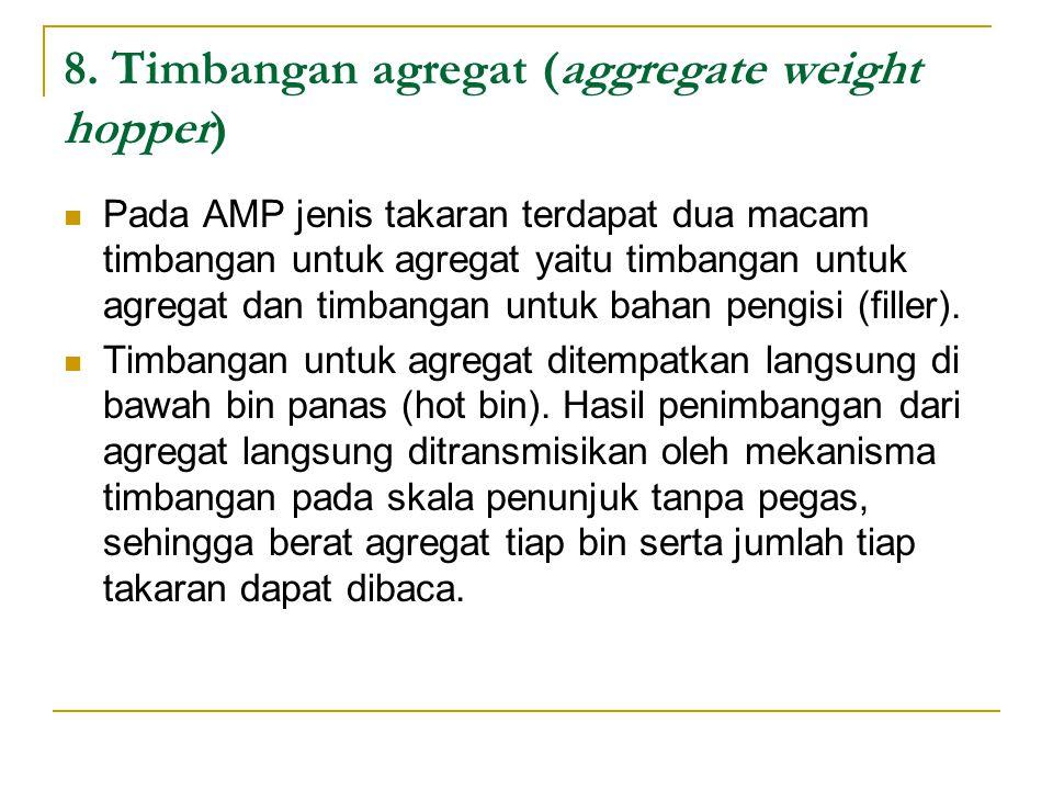 8. Timbangan agregat (aggregate weight hopper) Pada AMP jenis takaran terdapat dua macam timbangan untuk agregat yaitu timbangan untuk agregat dan tim