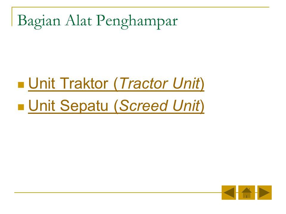Bagian Alat Penghampar Unit Traktor (Tractor Unit) Unit Traktor (Tractor Unit) Unit Sepatu (Screed Unit) Unit Sepatu (Screed Unit)