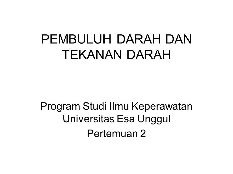 PEMBULUH DARAH DAN TEKANAN DARAH Program Studi Ilmu Keperawatan Universitas Esa Unggul Pertemuan 2