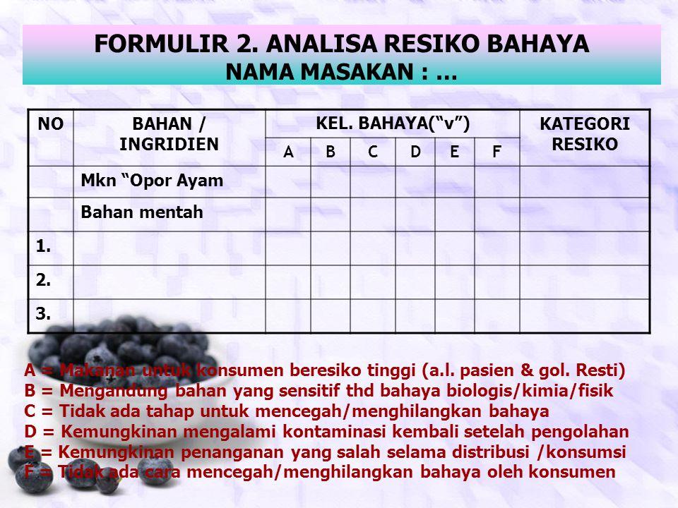 KELOMPOK BAHAYA  to form 2 KEL. BHYKARAKTERISTIK A Kelompok makanan KHUSUS yang terdiri dari makanan NON STERIL yang ditujukan untuk konsumen beresik