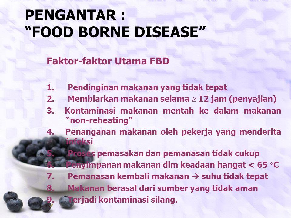 PENGANTAR : FOOD BORNE DISEASE Faktor-faktor Utama FBD 1.