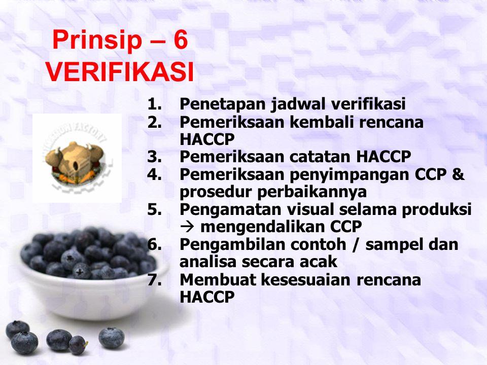 Prinsip – 5 TINDAKAN KOREKSI Tingkat resikoTindakan koreksi / perbaikan Makanan beresiko tinggi Mkn tdk boleh diproses/diolah sebelum semua penyimpang