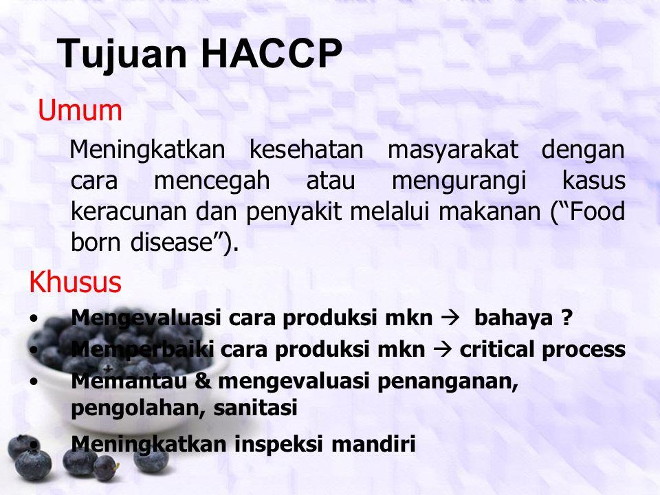 PENGERTIAN Hazard Analysis Critical Control Point (HACCP) Suatu system yang mengidentifikasi BAHAYA SPESIFIK yang mungkin timbul dan cara pencegahanny