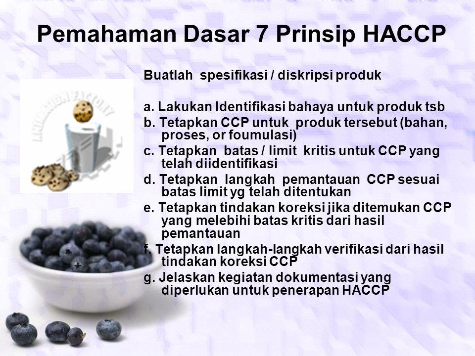 EVALUASI POKOK BAHASAN 1.Jelaskan pengertian HACCP 2.Jelaskan tujuan penerapan HACCP 3.Jelaskan manfaat penerapan HACCP 4.Sebutkan tujuh prinsip HACCP