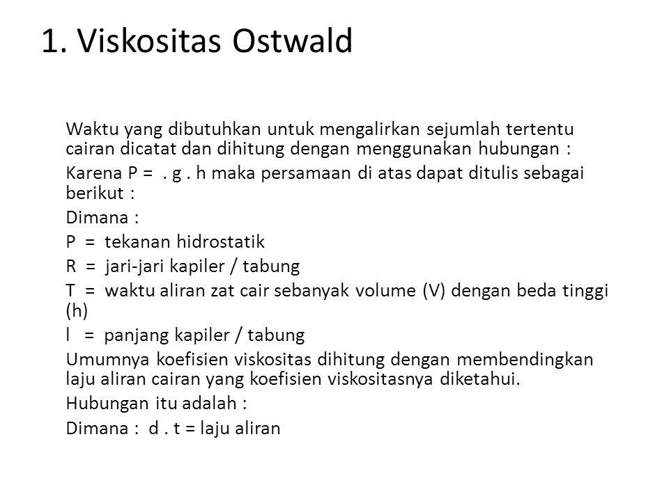 1. Viskositas Ostwald Waktu yang dibutuhkan untuk mengalirkan sejumlah tertentu cairan dicatat dan dihitung dengan menggunakan hubungan : Karena P =.