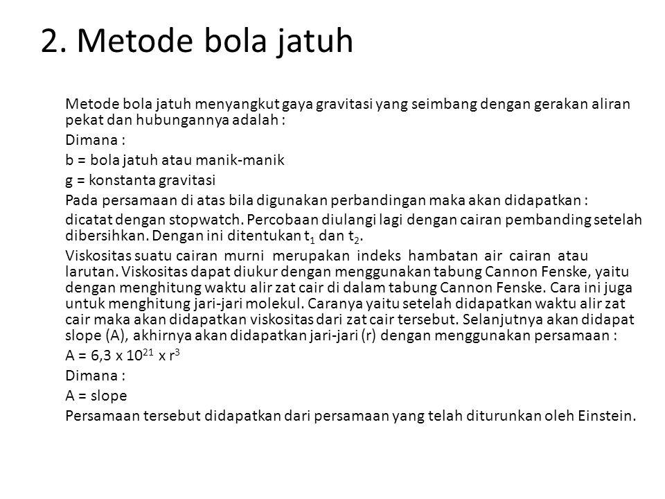 2. Metode bola jatuh Metode bola jatuh menyangkut gaya gravitasi yang seimbang dengan gerakan aliran pekat dan hubungannya adalah : Dimana : b = bola