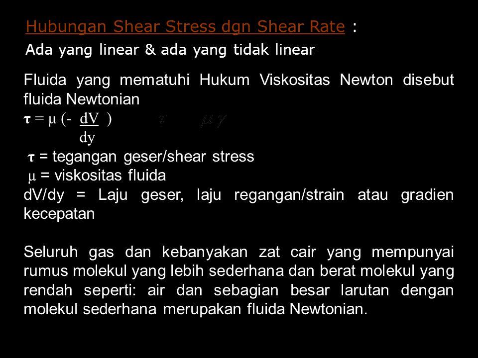Hubungan Shear Stress dgn Shear Rate : Ada yang linear & ada yang tidak linear Fluida yang mematuhi Hukum Viskositas Newton disebut fluida Newtonian τ