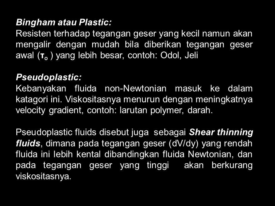 Bingham atau Plastic: Resisten terhadap tegangan geser yang kecil namun akan mengalir dengan mudah bila diberikan tegangan geser awal (τ o ) yang lebi
