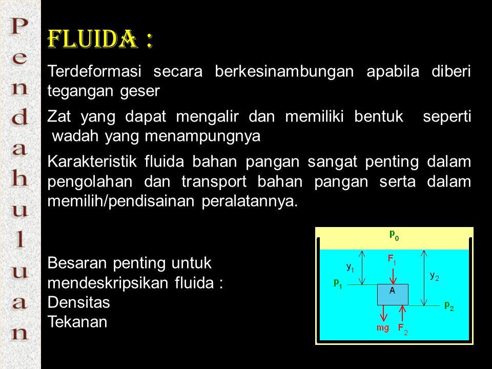Fluida : Terdeformasi secara berkesinambungan apabila diberi tegangan geser Zat yang dapat mengalir dan memiliki bentuk seperti wadah yang menampungny