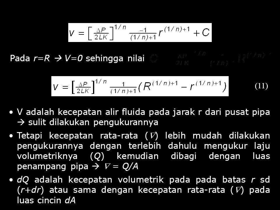 Pada r=R  V=0 sehingga nilai (11) V adalah kecepatan alir fluida pada jarak r dari pusat pipa  sulit dilakukan pengukurannya Tetapi kecepatan rata-r