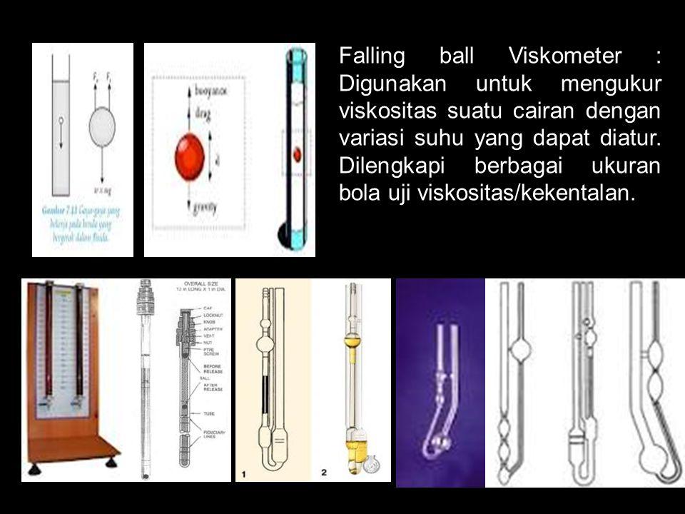 Falling ball Viskometer : Digunakan untuk mengukur viskositas suatu cairan dengan variasi suhu yang dapat diatur. Dilengkapi berbagai ukuran bola uji