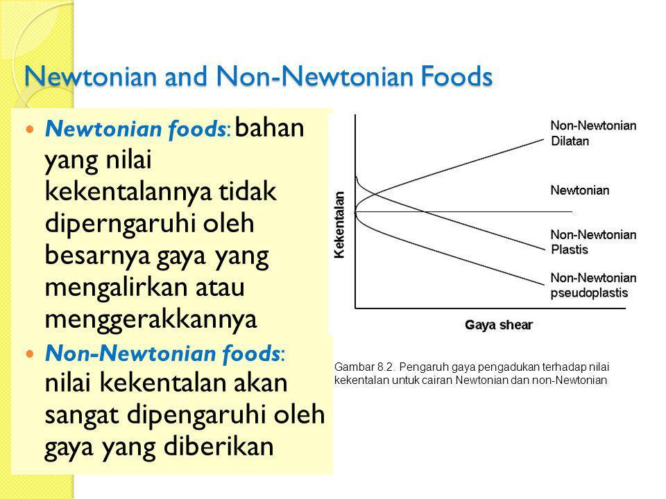 Newtonian and Non-Newtonian Foods Newtonian foods: bahan yang nilai kekentalannya tidak diperngaruhi oleh besarnya gaya yang mengalirkan atau menggera