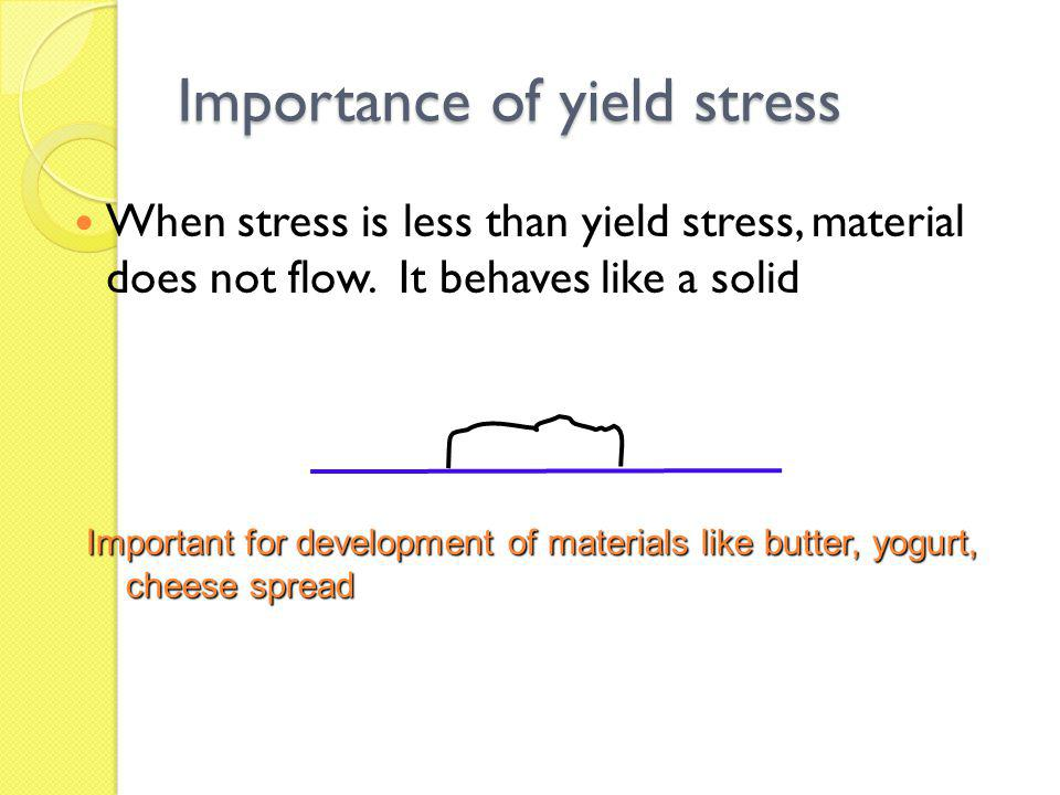 Importance of yield stress When stress is less than yield stress, material does not flow. It behaves like a solid Important for development of materia