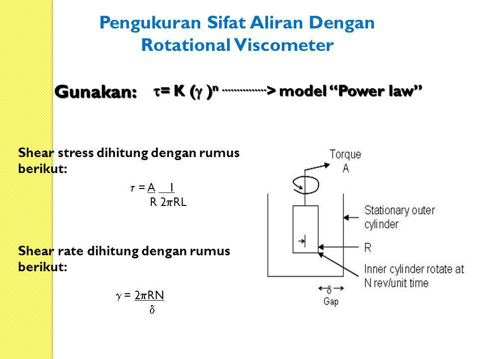  = A 1 R 2  RL  = 2  RN  Shear stress dihitung dengan rumus berikut: Shear rate dihitung dengan rumus berikut:  = K (  ) n............... > mo