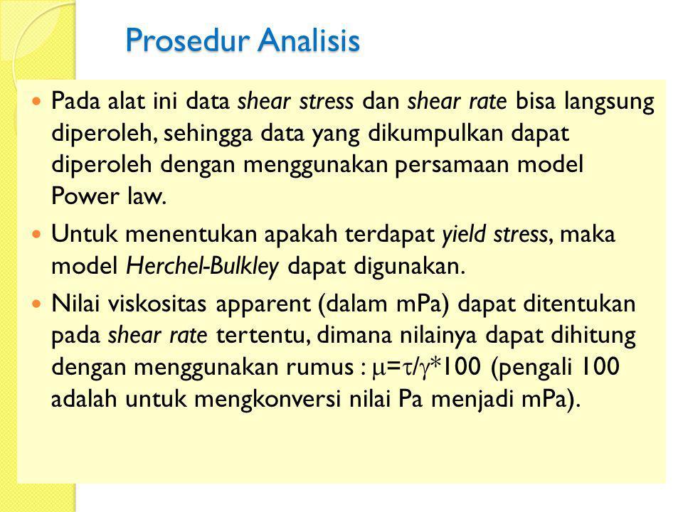 Prosedur Analisis Pada alat ini data shear stress dan shear rate bisa langsung diperoleh, sehingga data yang dikumpulkan dapat diperoleh dengan menggu