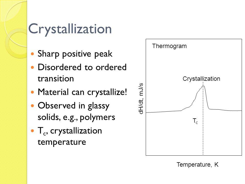 Crystallization Sharp positive peak Disordered to ordered transition Material can crystallize! Observed in glassy solids, e.g., polymers T c, crystall