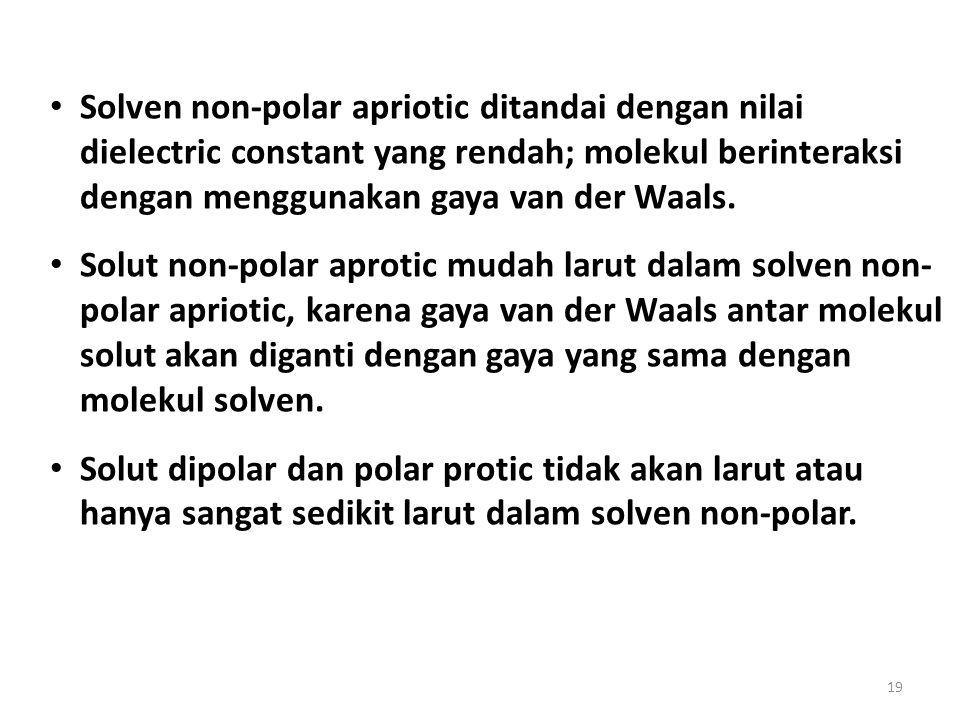 19 Solven non-polar apriotic ditandai dengan nilai dielectric constant yang rendah; molekul berinteraksi dengan menggunakan gaya van der Waals. Solut