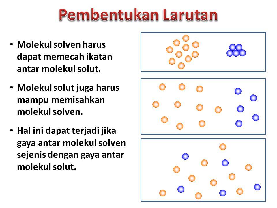 Molekul solven harus dapat memecah ikatan antar molekul solut. Molekul solut juga harus mampu memisahkan molekul solven. Hal ini dapat terjadi jika ga
