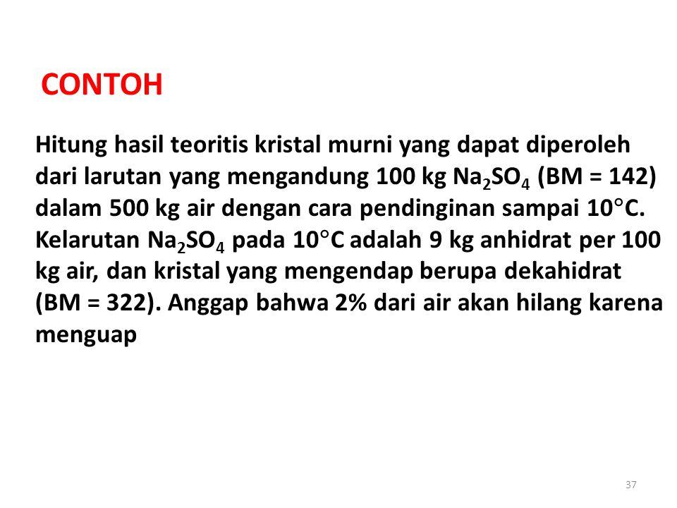 37 CONTOH Hitung hasil teoritis kristal murni yang dapat diperoleh dari larutan yang mengandung 100 kg Na 2 SO 4 (BM = 142) dalam 500 kg air dengan cara pendinginan sampai 10  C.