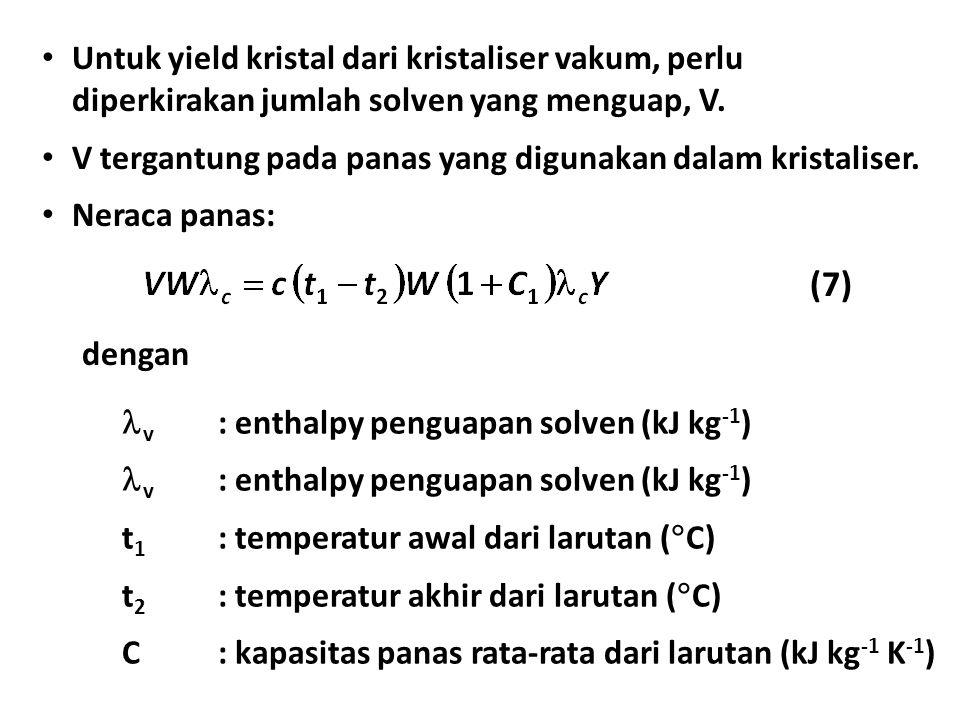 Untuk yield kristal dari kristaliser vakum, perlu diperkirakan jumlah solven yang menguap, V. V tergantung pada panas yang digunakan dalam kristaliser