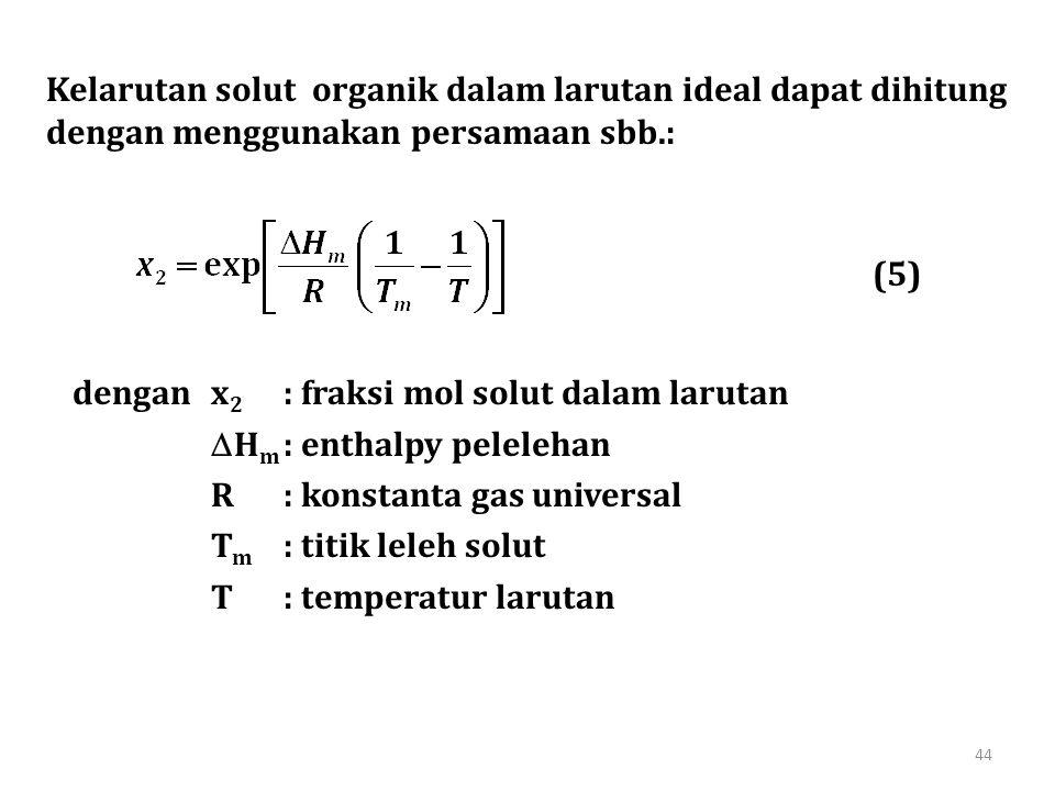 Kelarutan solut organik dalam larutan ideal dapat dihitung dengan menggunakan persamaan sbb.: denganx 2 : fraksi mol solut dalam larutan  H m : enthalpy pelelehan R: konstanta gas universal T m : titik leleh solut T: temperatur larutan (5) 44