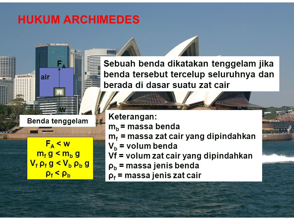Adaptif Hal.: 14 Isi dengan Judul Halaman Terkait HUKUM ARCHIMEDES Sebuah benda yang tercelup sebagian atau seluruhnya ke dalam zat cair atau zat cair