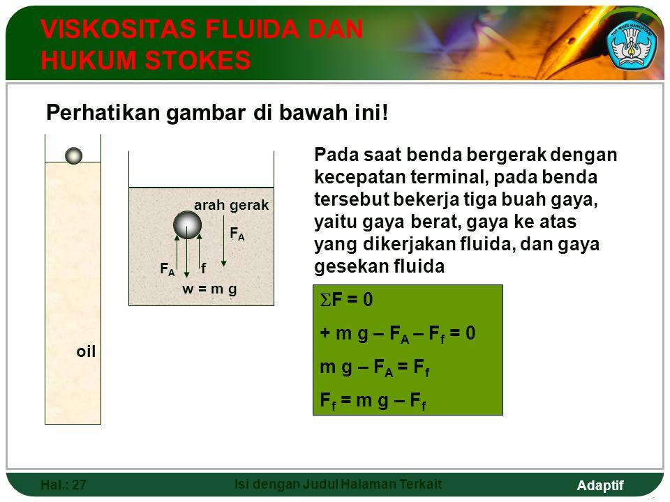 Adaptif Hal.: 26 Isi dengan Judul Halaman Terkait VISKOSITAS FLUIDA DAN HUKUM STOKES Ukuran kekentalan suatu fluida dinyatakan dengan viskositas. F f